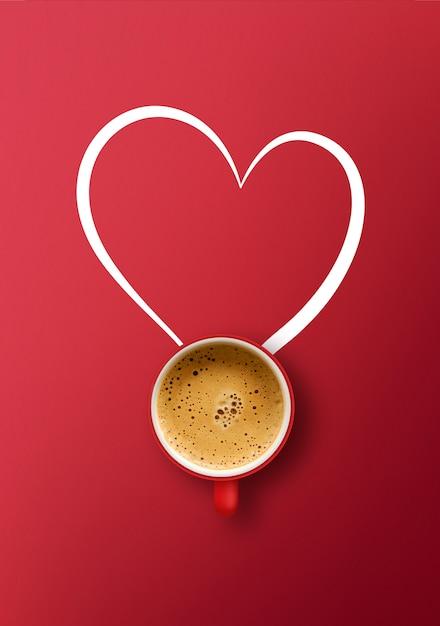 Szczęśliwych Walentynek Koncepcja. Filiżanka Kawy Na Czerwonym Tle Premium Zdjęcia