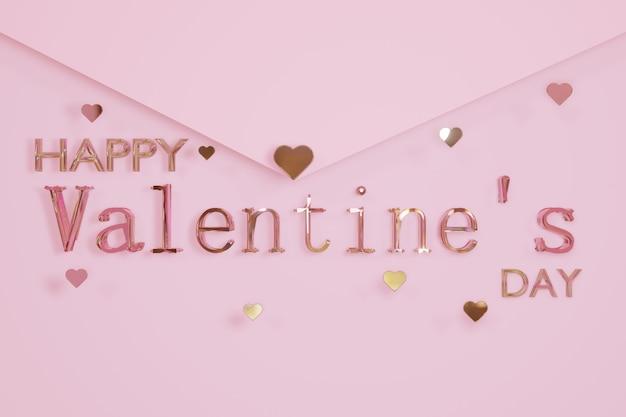 Szczęśliwych Walentynek Szkło Tekst I Kształt Serca Na Różowym Tle Koperty Listu Renderowania 3d Premium Zdjęcia