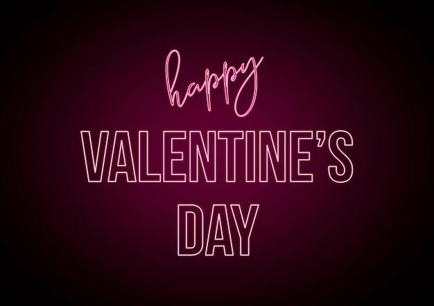 Szczęśliwych Walentynek, Tekst Z Różowymi Neonami. Kreatywne Elementy, Grafika Z Sercem. Premium Zdjęcia