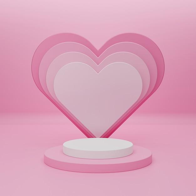 Szczęśliwych Walentynek Z Podium Do Prezentacji Produktów I Renderowania 3d. Premium Zdjęcia