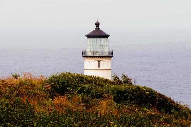 Szerokie Ujęcie Białej Latarni Morskiej Na Klifie Porośniętym Zieloną I Pomarańczową Trawą Przez Zbiornik Wodny Darmowe Zdjęcia