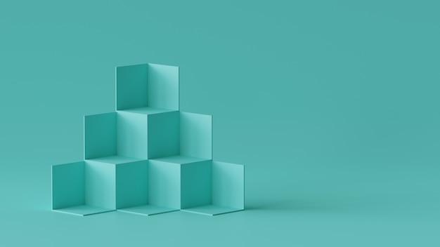 Sześcian pudełka tła pokaz na pustej ściany tle. renderowanie 3d. Premium Zdjęcia