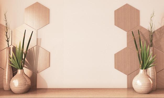 Sześciokąt Płytki Drewniane I Drewniane Dekoracje Wazonów Na Podłodze Drewniany Kolor Ziemi. Renderowania 3d Premium Zdjęcia