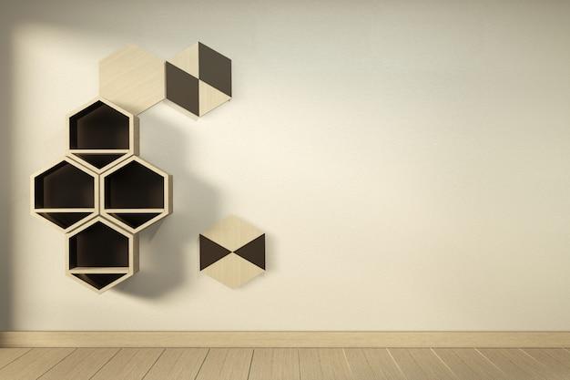 Sześciokątna Drewniana Półka Japoński Wzór Na ścianie. Renderowania 3d Premium Zdjęcia