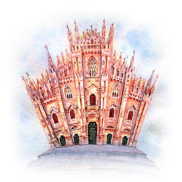 Szkic Akwarela Katedry W Mediolanie, Włochy Premium Zdjęcia