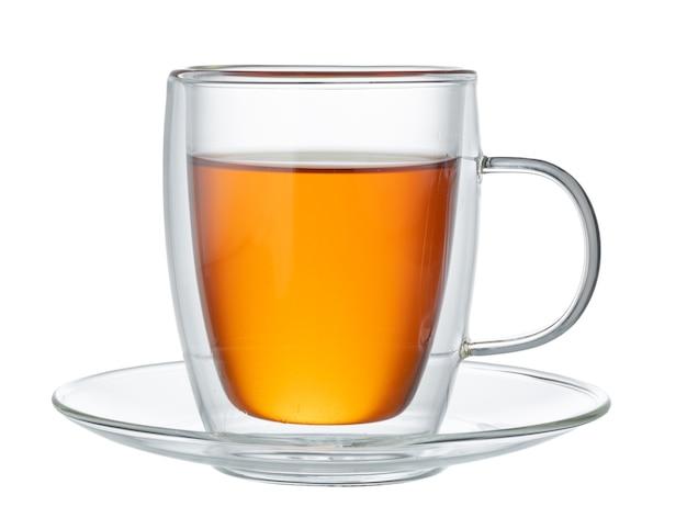 Szklany Kubek Czarnej Herbaty Na Białym Tle Premium Zdjęcia