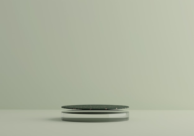Szkło I Lastryko Złoty Zielony Podium Na Miętowym Pastelowym Tle. Etap Lewitujący Dla Produktu. 3d Premium Zdjęcia