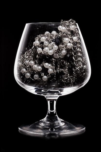 Szkło Pełne Różnych Biżuterii Premium Zdjęcia