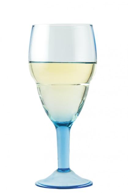 Szkło z białym winem na bielu Premium Zdjęcia