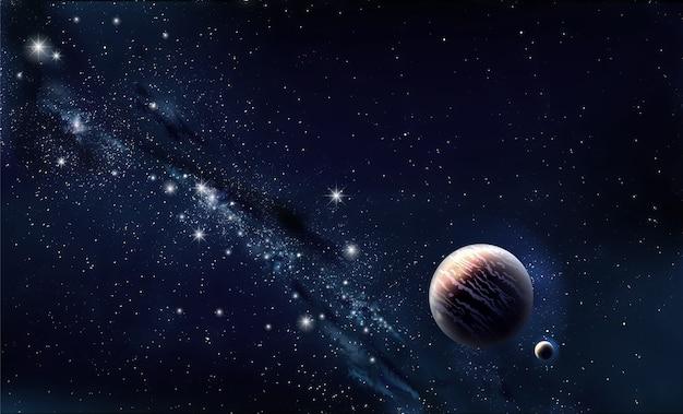 Sztandar Wszechświata. Koncepcyjny Baner Internetowy. Planeta I Gwiazdy. Tło Premium Zdjęcia