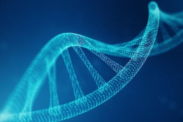 Sztuczna Cząsteczka Dna Inteligencji. Dna Jest Konwertowane Na Kod Binarny. Pojęcie Genomu Kodu Binarnego. Nauka O Technologii Abstrakcyjnej, Koncepcja Sztucznej Dna. Ilustracja 3d Premium Zdjęcia