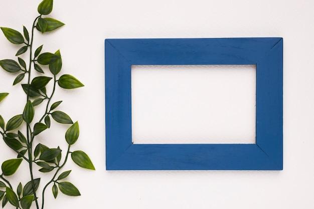 Sztuczni liście blisko błękitnej drewnianej ramy odizolowywającej na białym tle Darmowe Zdjęcia
