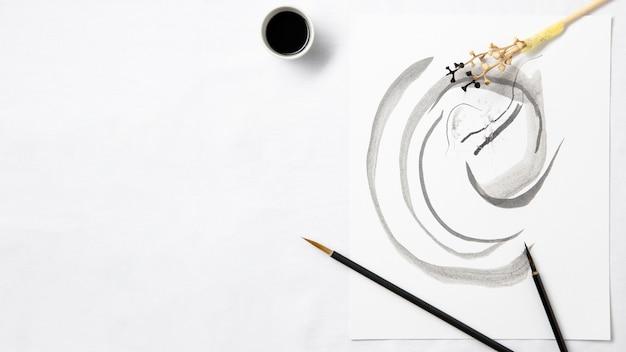 Sztuka Chińskiego Atramentu Z Widokiem Z Góry Premium Zdjęcia
