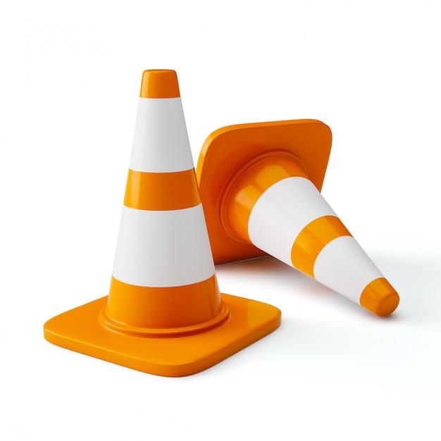 Szyszki Budowy Ruchu Autostrady Pomarańczowy Premium Zdjęcia
