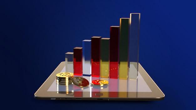 Tablet I Wykres Renderowania 3d Dla Treści Biznesowych. Premium Zdjęcia