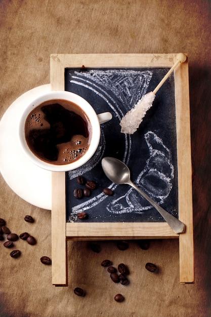 Tablica Z Kawą I Cukrem Premium Zdjęcia