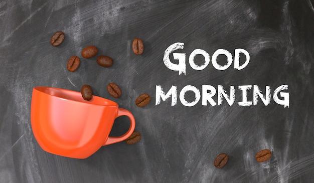 Tablica z komunikatem dzień dobry z pomarańczową filiżanką kawy i ziarnami kawy Premium Zdjęcia