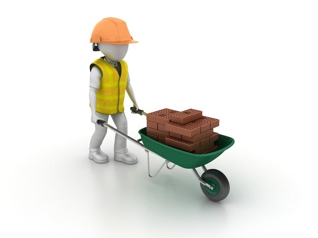 Taczka Z Cartton Workder I Bricks Premium Zdjęcia