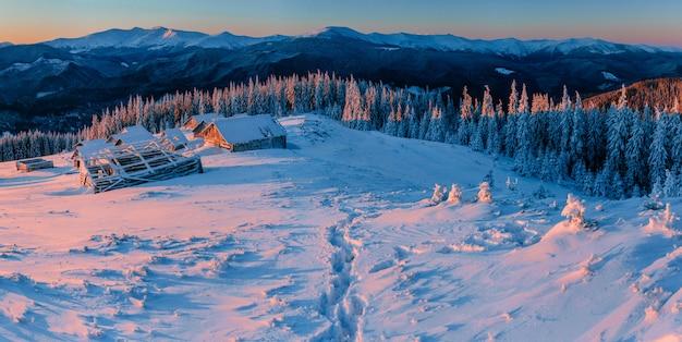 Tajemniczy Zimowy Krajobraz Majestatyczne Góry Premium Zdjęcia