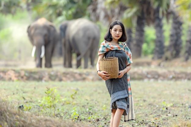 Tajlandzka Kobieta W Tradycyjnej Tajskiej Odzieży Pozuje Podczas Gdy Pozuje Jako Słoń Na Jej Ryżowych Polach. Premium Zdjęcia