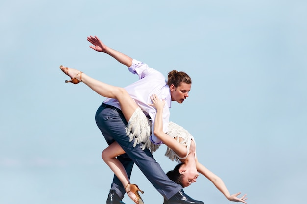 Taniec Wydajność Relacja Sportowa Elegancja Premium Zdjęcia