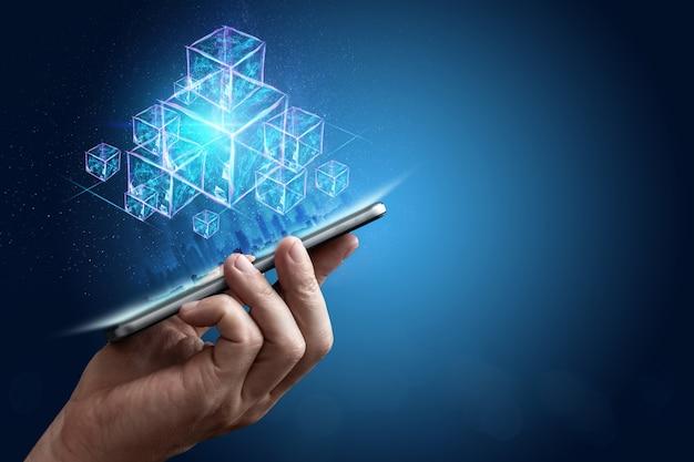 Technologia blockchain abstrakcyjne tło Premium Zdjęcia