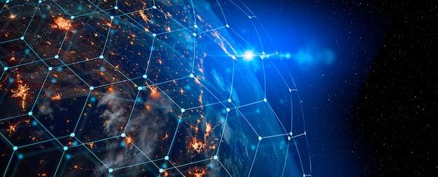 Technologia Komunikacyjna Dla Biznesu Internetowego. Globalna światowa Sieć I Telekomunikacja Na Ziemi, Kryptowaluta I Blockchain Oraz Internet Rzeczy. Elementy Tego Obrazu Dostarczone Przez Nasa Premium Zdjęcia