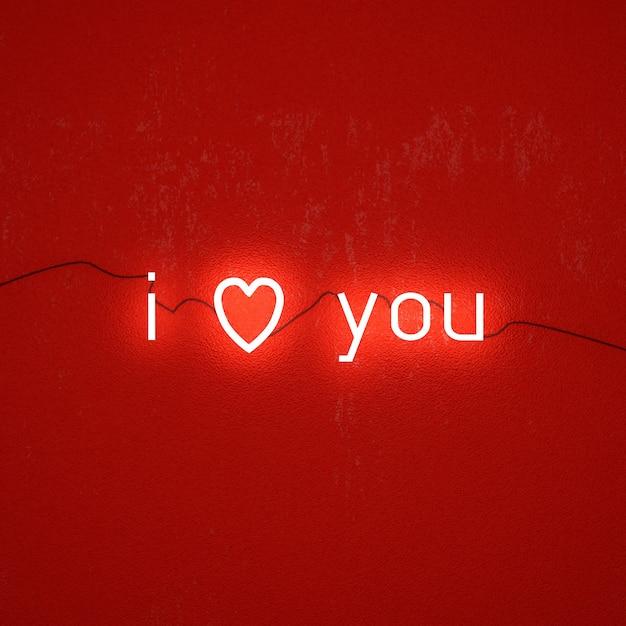 Tekstowe światło Neonowe Na Walentynki Premium Zdjęcia