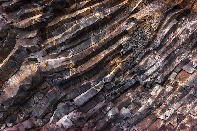 Tekstur Gór Reynisfyal Przylądek Dyrholaey Iceland. świat Piękna Premium Zdjęcia