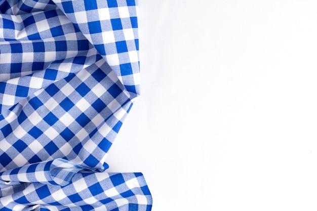 Tekstura Niebieski Obrus Na Białym Tle Premium Zdjęcia