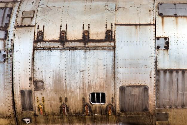 Tekstura Starej Metalicznej Skóry Samolotu Premium Zdjęcia