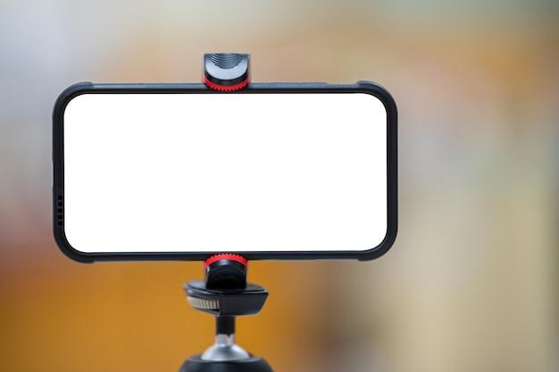 Telefon Komórkowy Zamontowany Na Statywie Premium Zdjęcia