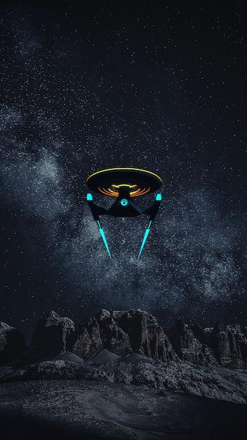 Telefon wallpaprer of science fikcyjny obraz statku kosmicznego i drogi mlecznej Premium Zdjęcia
