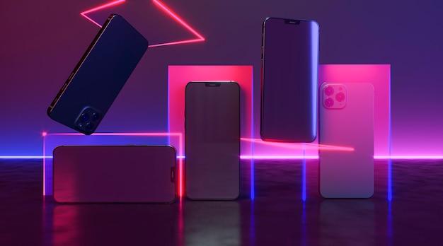 Telefony Z Układem Neonów Darmowe Zdjęcia