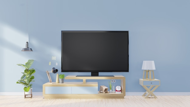 Telewizor W Nowoczesnych Pustych Pomieszczeniach I Lampy. Dekoracja Na Tylnym Błękitnym ściennym Tle Premium Zdjęcia