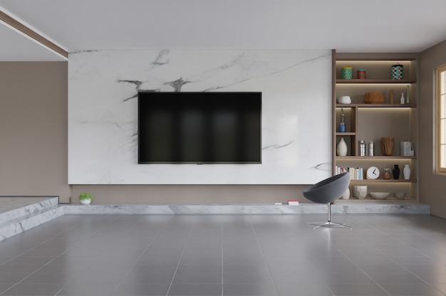 Telewizor W Nowoczesnym Wnętrzu Salonu Premium Zdjęcia