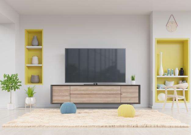 Telewizor w szafce w nowoczesnym salonie z żółtą półką Premium Zdjęcia