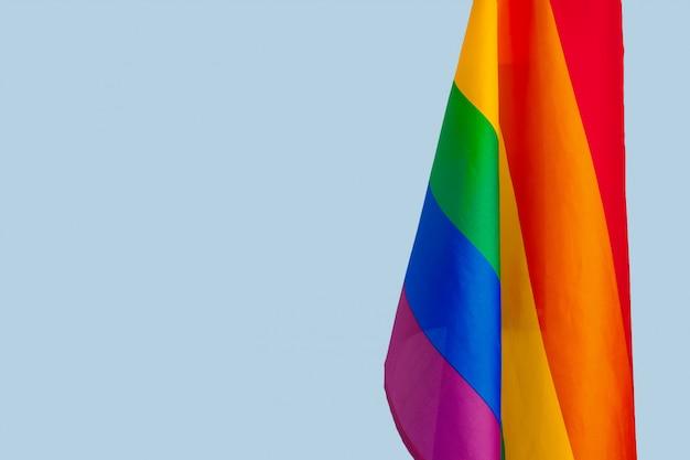 Tkaniny tekstura homoseksualny tęczy flaga zakończenie up Premium Zdjęcia
