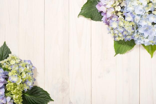 Tle kwiatów z kwiatami hortensji Premium Zdjęcia