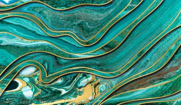 Tło Agat Zielony I Złoty Agat. Marmur Z Warstwami Fal. Premium Zdjęcia