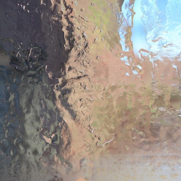 Tło Krystalicznej Tekstury Lodu Na Powierzchni Szkła Premium Zdjęcia