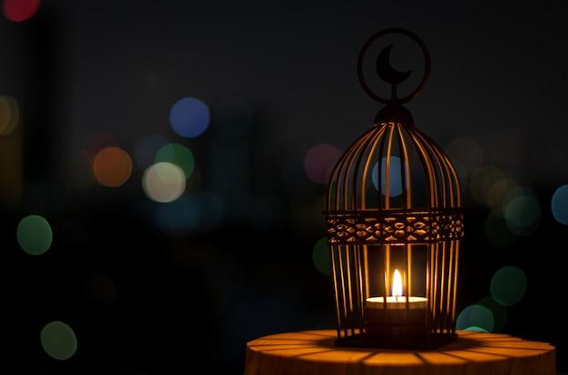 Tło muzułmańskiego święta świętego miesiąca ramadan kareem. Premium Zdjęcia
