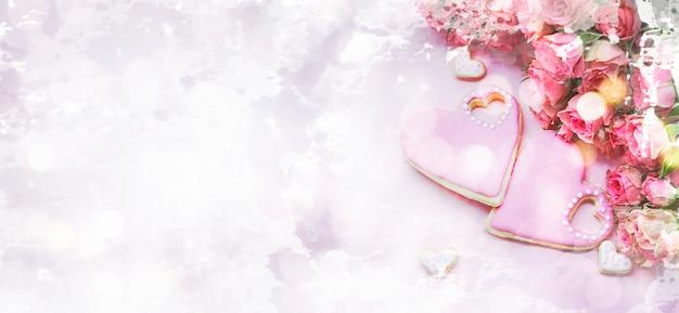 Tło Na Walentynki Z Domowym Piernikiem. Imitacja Akwareli Premium Zdjęcia