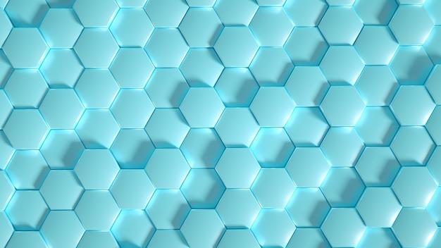 Tło Sześciokąt Geometrii. Ilustracja, Renderowanie 3d. Premium Zdjęcia