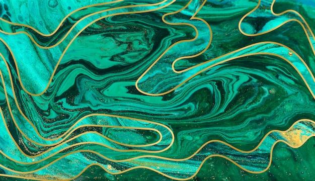 Tło Tętnienia Zielony, Niebieski I Złoty. Marmurowa Konsystencja Z Warstwami. Cząsteczki Złota Premium Zdjęcia