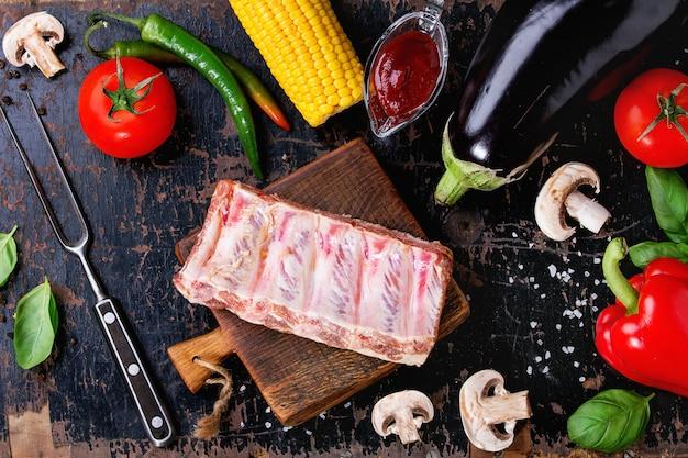 Tło Warzywa Bbq Premium Zdjęcia