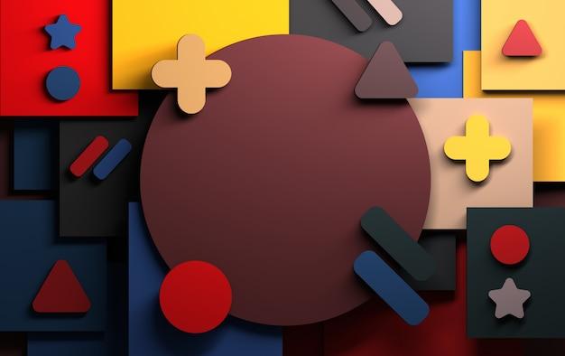 Tło z abstrakta menchii zieleni i błękita geometrycznymi kształtami Premium Zdjęcia