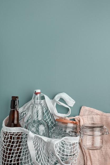 Torby Bawełniane, Butelki Szklane I Słoik Premium Zdjęcia