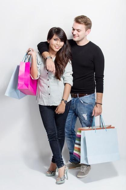 Torby Mieszana Mienia Trwanie Zakupy Para Premium Zdjęcia