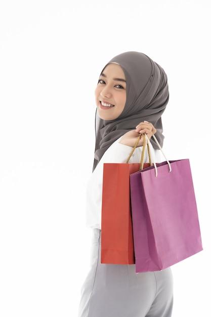 Torby Na Zakupy Dziewczyny Muzułmańskie Premium Zdjęcia